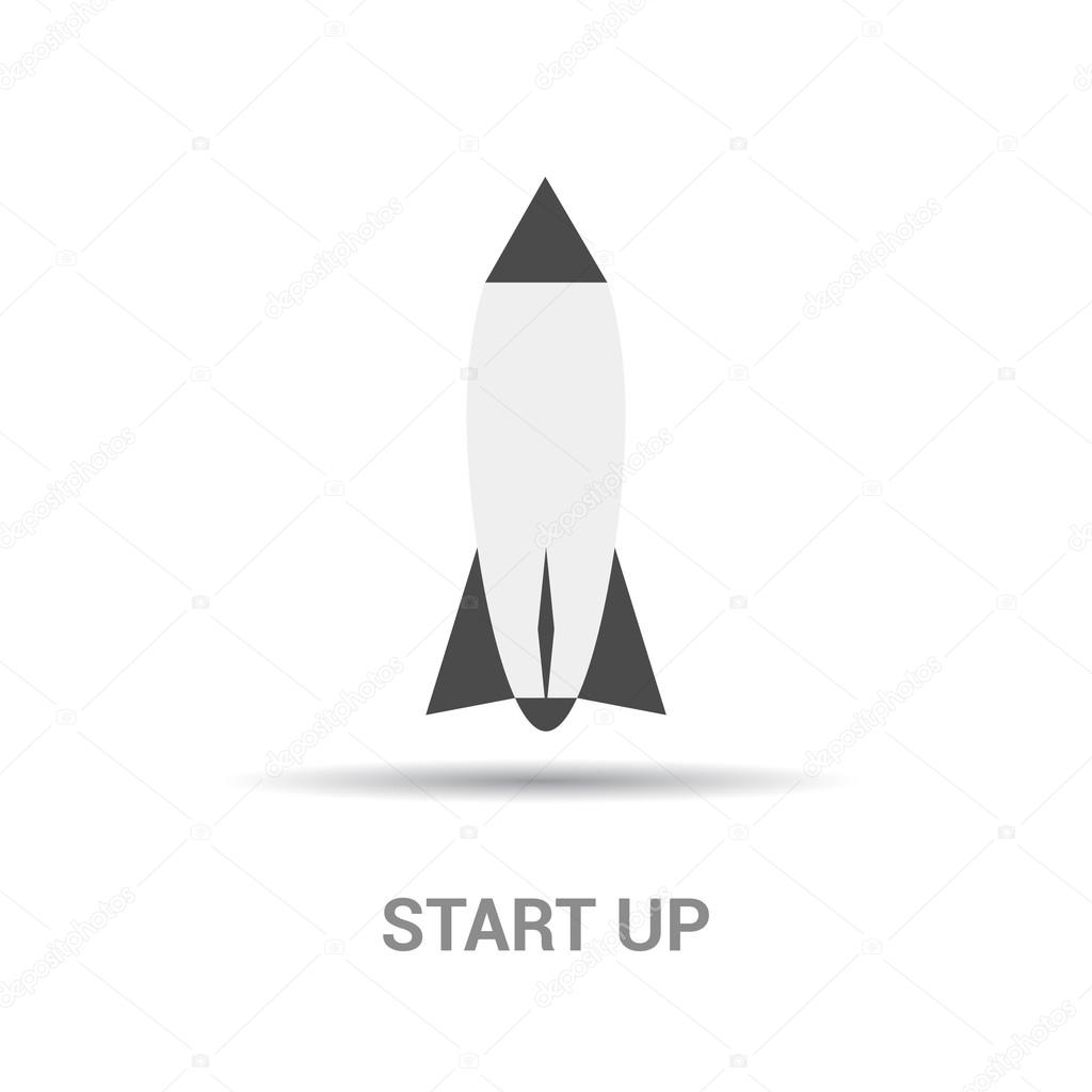 Space rocket,  startup icon