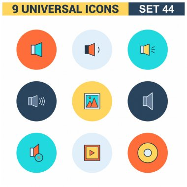 Abstract collection flat Universal Icons set.