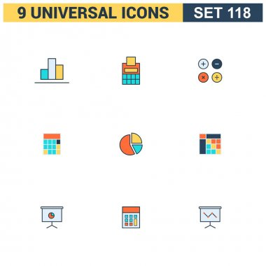 Vector collection of colorful flat Universal Icon set. Big package of modern minimalist, thin line icons. Design elements for mobile and web applications. clip art vector