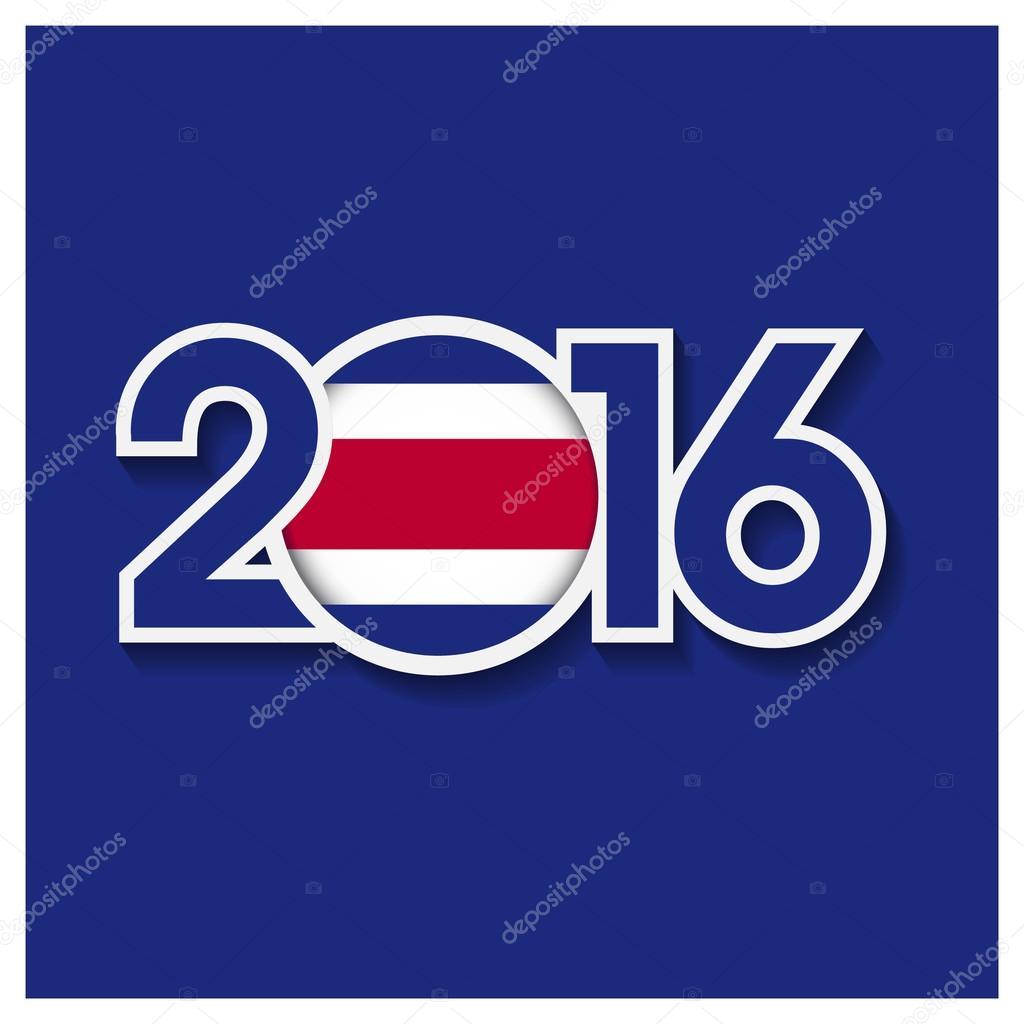 2016 Year With Costa Rica Flag Stock Vector C Ibrandify