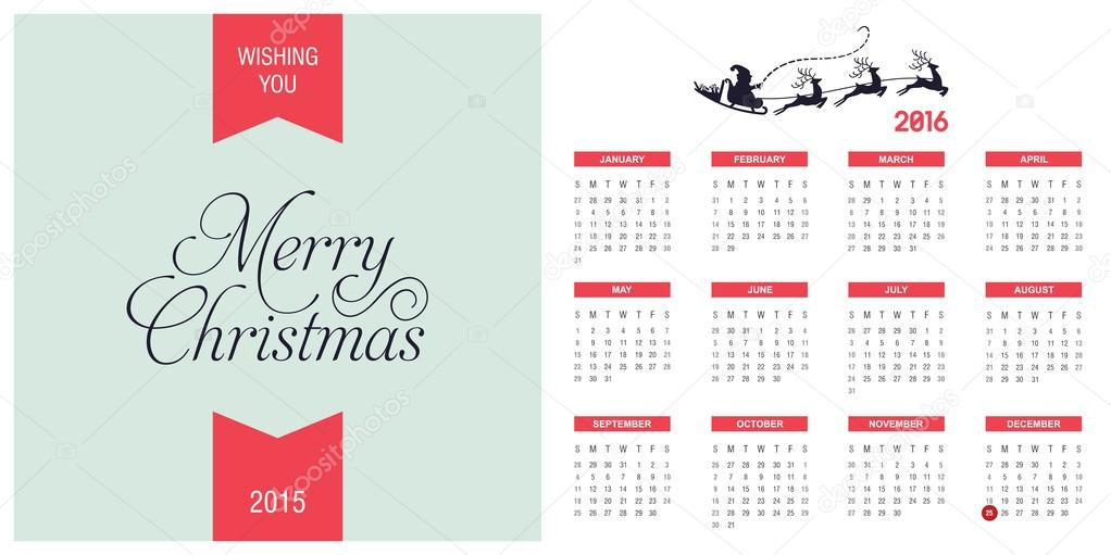 image relating to Printable Christmas Calendar known as 2016 Printable Xmas calendar Inventory Vector © ibrandify