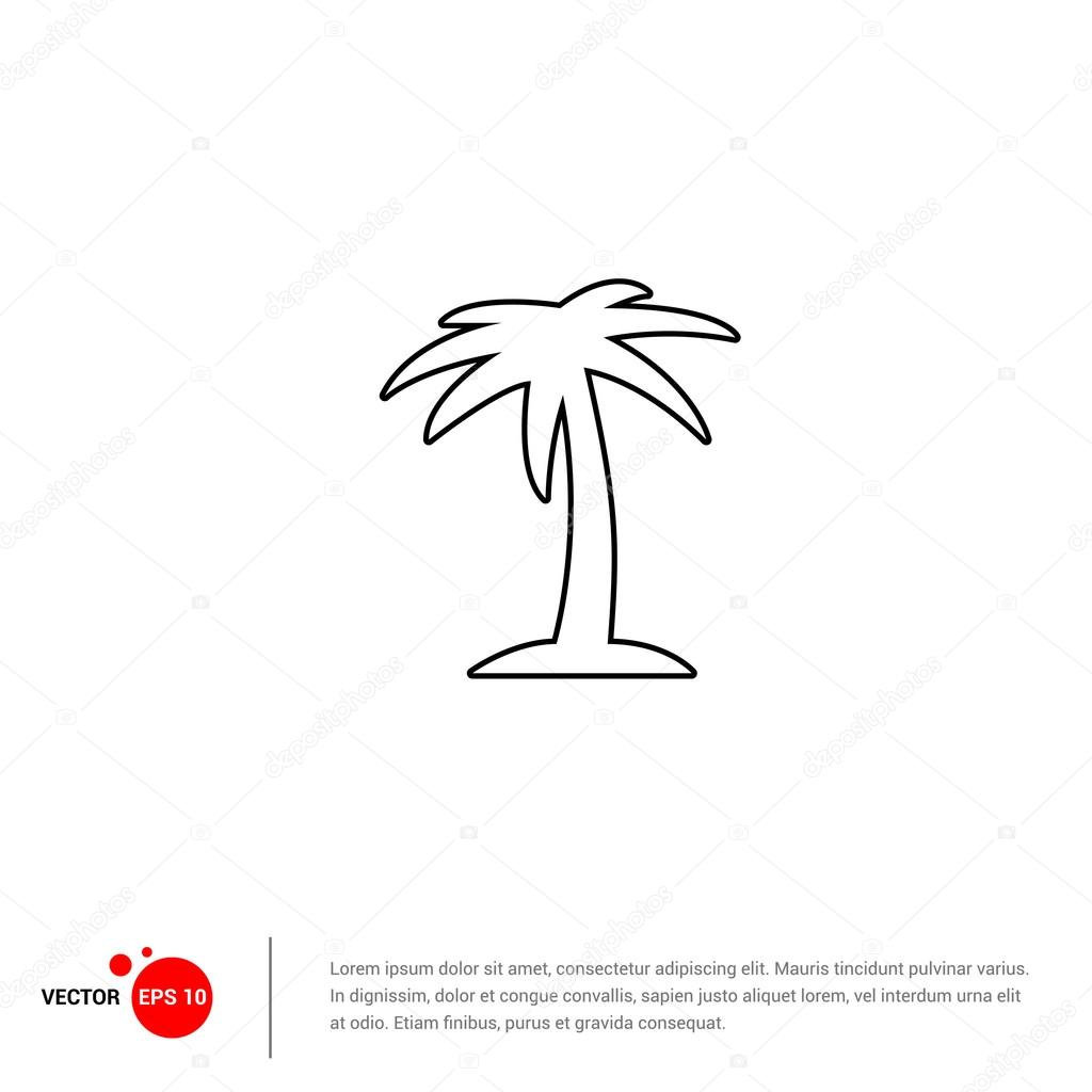 icon with palm tree on island