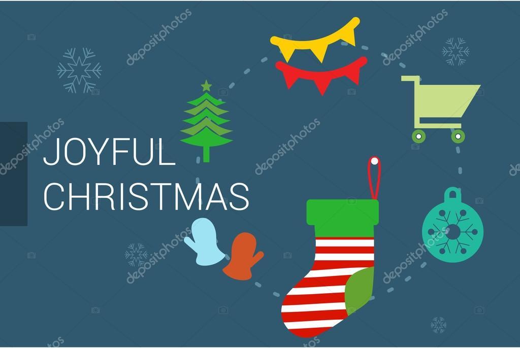 Joyful Christmas card With Flat Icons — Stock Vector © ibrandify ...