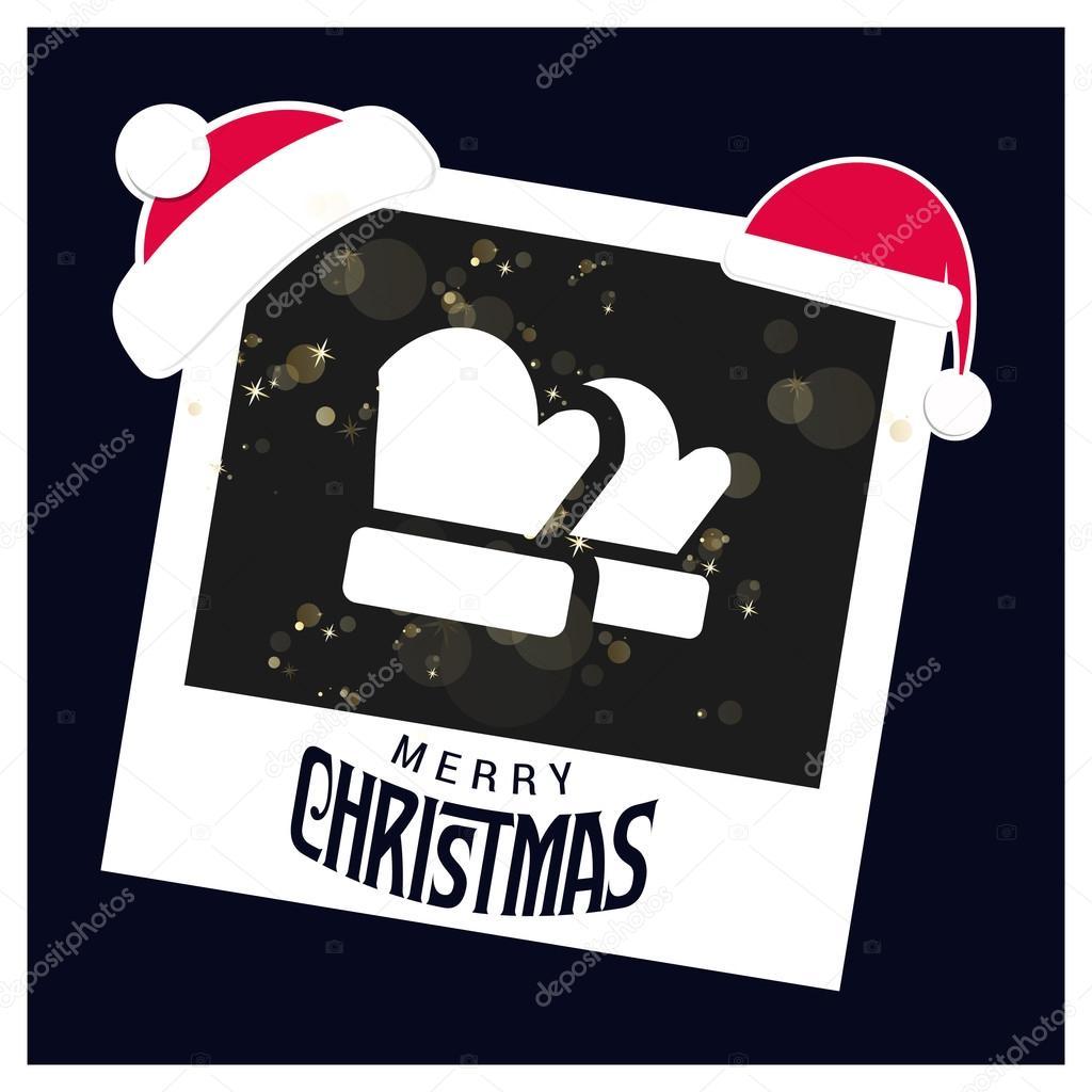 Weihnachten-Handschuhe. Bilderrahmen mit Santa-Hüte — Stockvektor ...
