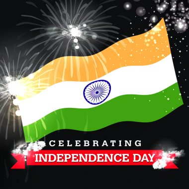 Celebrating Independence Day card with flag