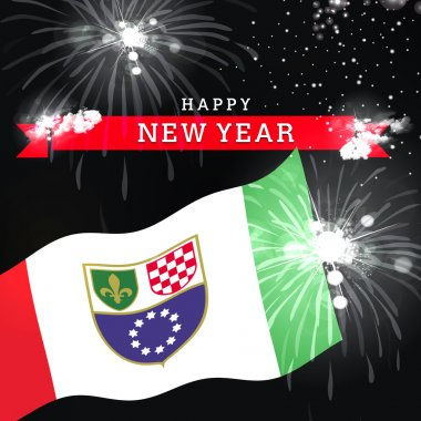 New Year card with flag