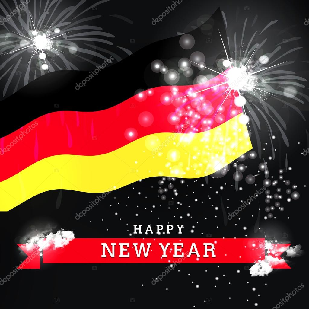 new year card with flag of germany stock photo