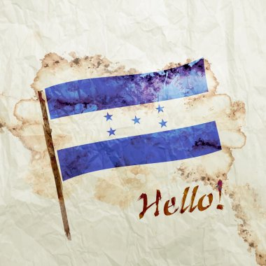 Honduras flag on watercolor grunge paper