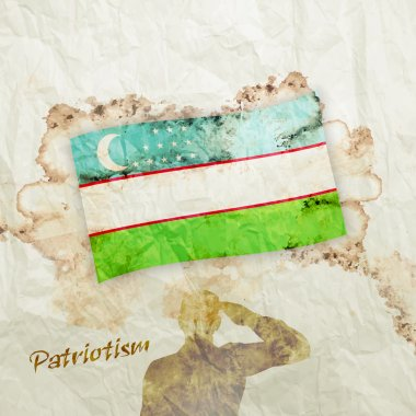 Uzbekistan flag on watercolor grunge paper