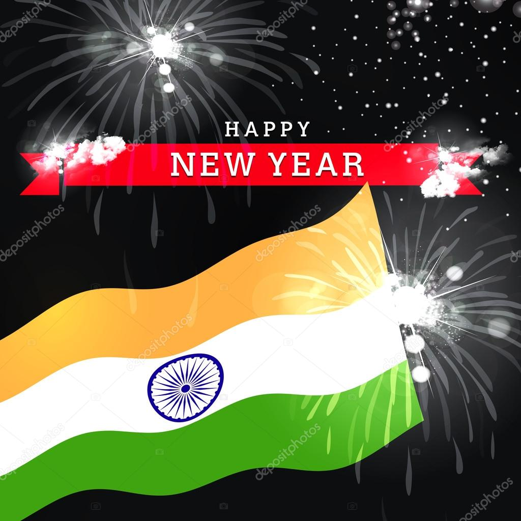 new year card with flag of india stock photo