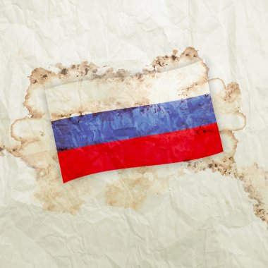 Russia flag on watercolor grunge paper