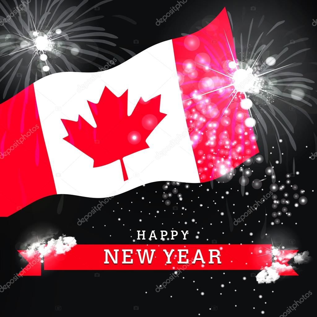 canada happy new year card stock photo