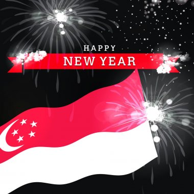 Happy New Year card with flag