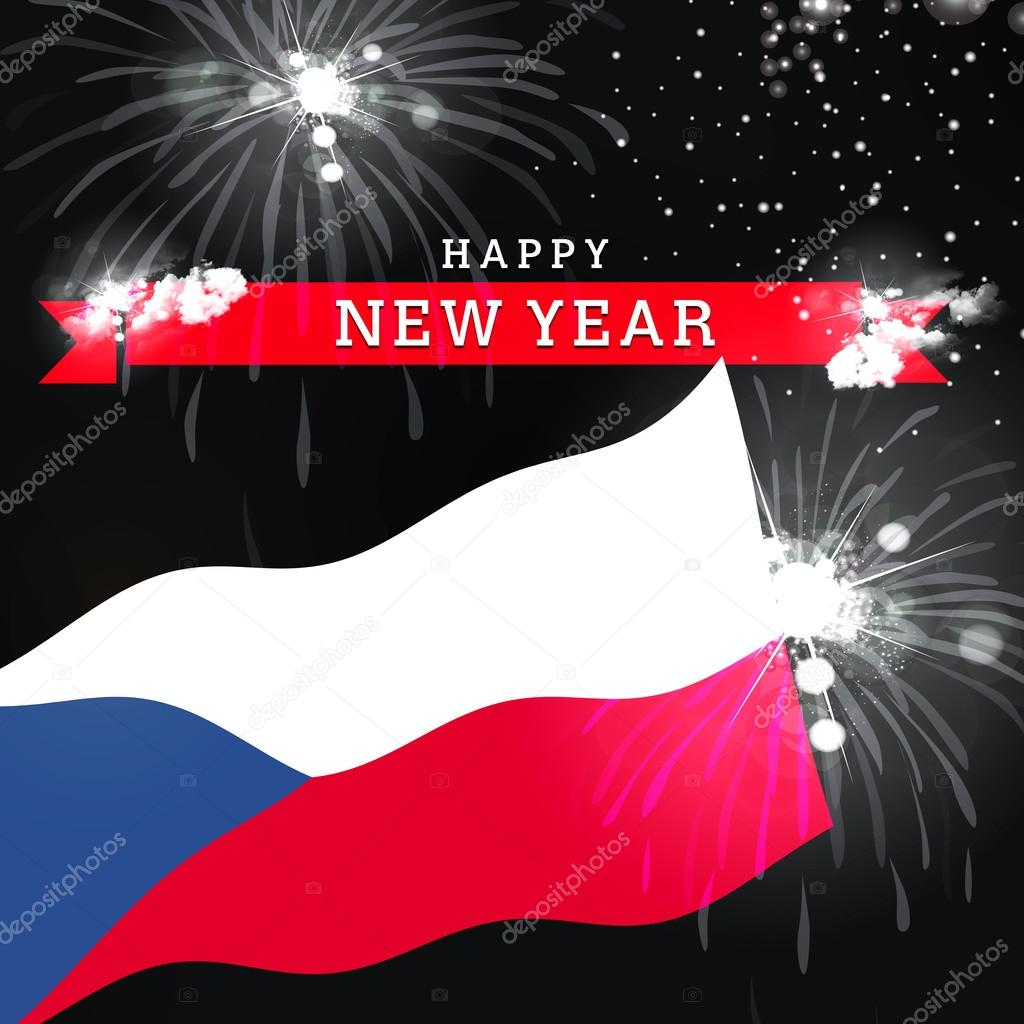 czech happy new year card stock photo