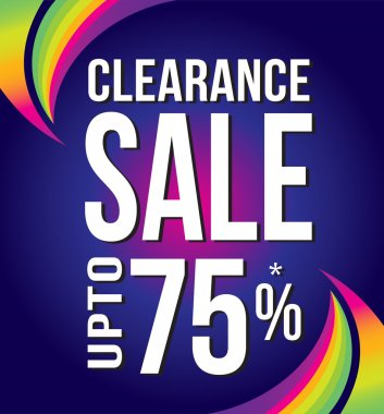 Clearance Sale banner with multicolor curves. Vector illustration