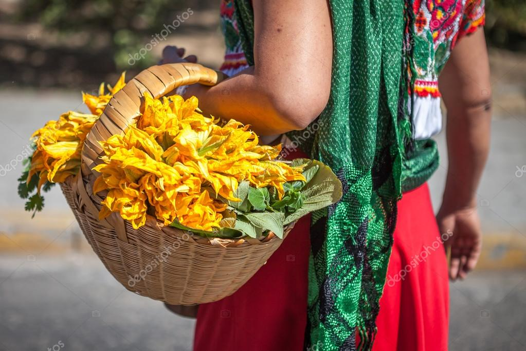 Mulher Com Uma Cesta No Vestido Mexicano Tradicional étnico