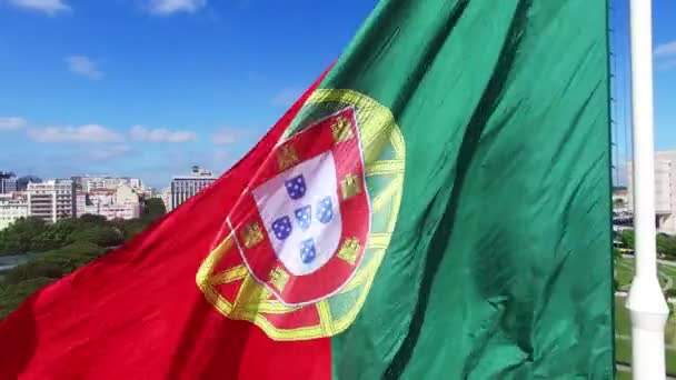 Portugál integetett zászló az Eduardo Vii Park, Lisszabon, Portugália-légifelvételek