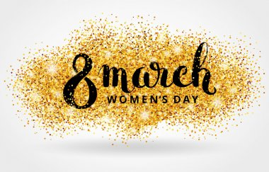 eight 8 march womens day gold glitter background
