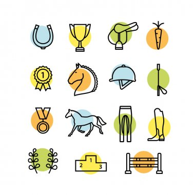 Horse equipment icon set
