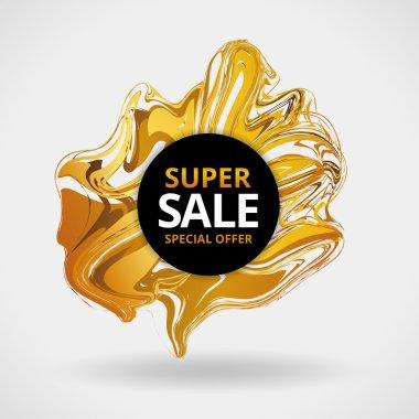Liqid gold sale background in frame