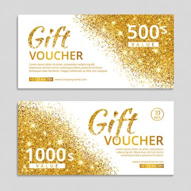 Gold gift voucher with text.