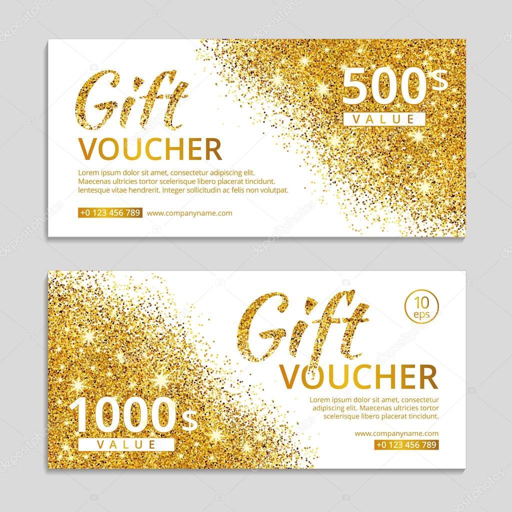 Gold gift voucher with text. — Stock Vector © PirinaIrina ...