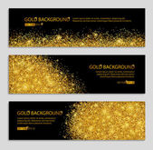 Fotografia Gold banner with glitter black background