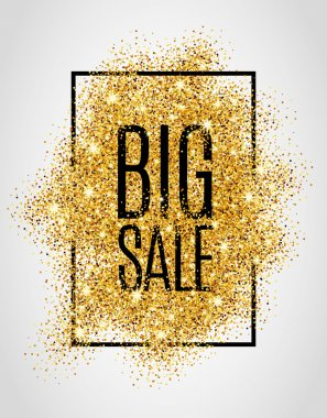 Gold big sale background in frame