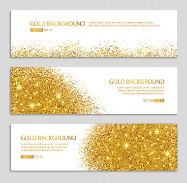 Gold sparkles white background, banners. Gold banner. Gold background. Gold club banner with text. Banners logo, web,  card, vip, exclusive, certificate, gift, luxury, voucher, store, shopping, sale. stock vector
