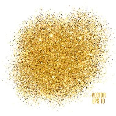 Gold sparkles on white background. Gold glitter background. Gold background for card, vip, exclusive, certificate, gift, luxury, privilege, voucher, store, present, shopping. stock vector