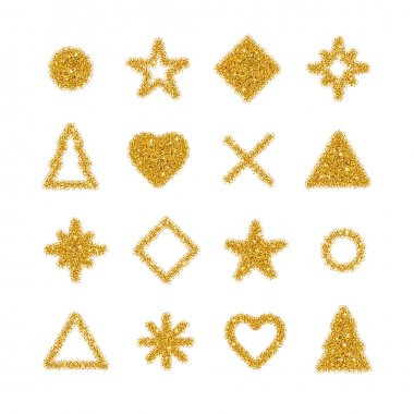 Golden shapes glitter background