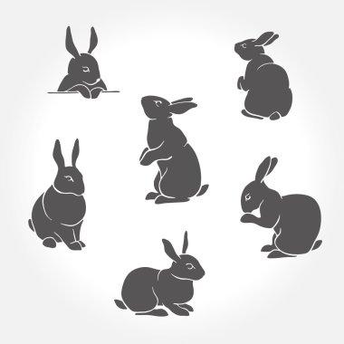 Rabbit black silhouettes
