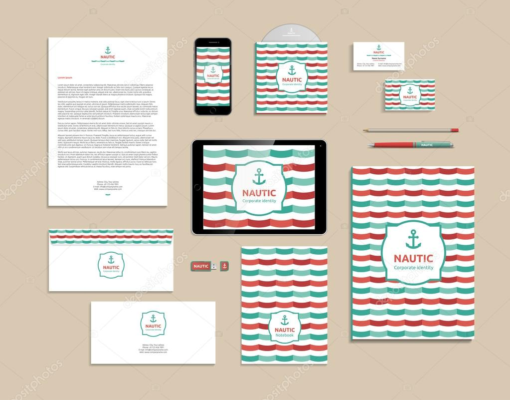 Corporate identity template, mock up nautical — Stock Vector ...