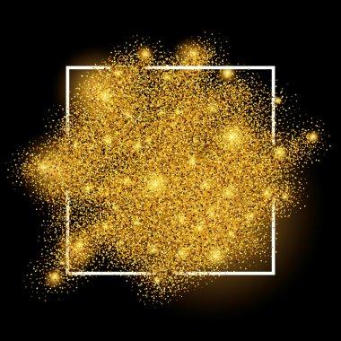 Gold blur background in frame on black