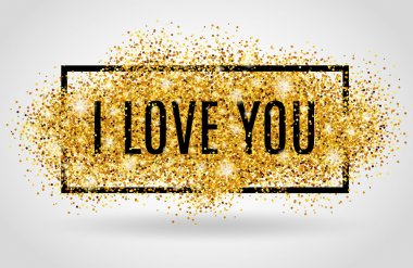 I love you gold glitter on white background