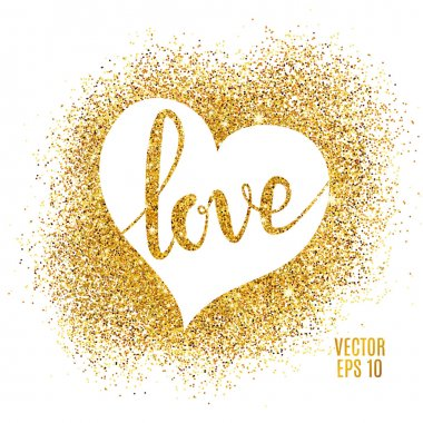 Love lettering and heart, gold sparkles background.