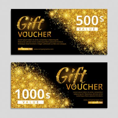 Gold voucher glitter background.