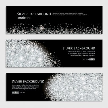Silver banner glitter background