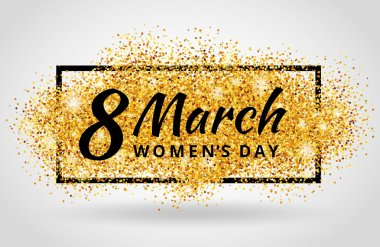 eight march womens day Gold glitter