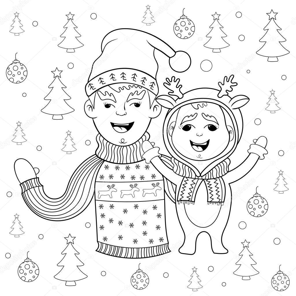 Kitap Yeni Yıl Ve Noel Kartpostalı Happy Aile Boyama Stok Vektör