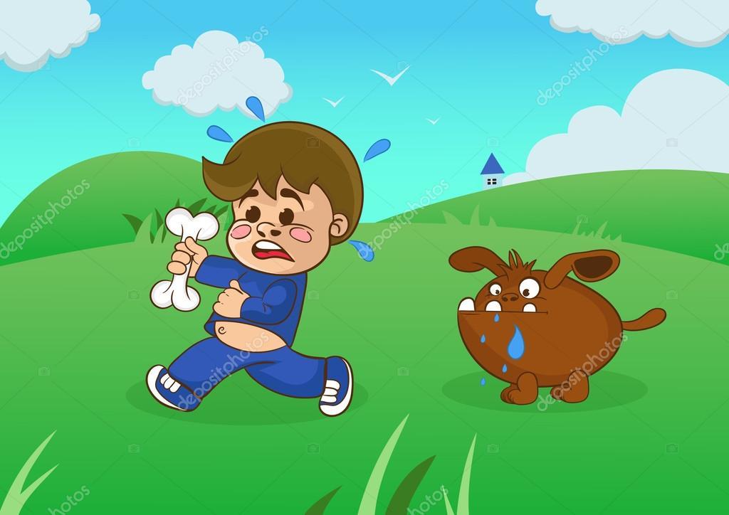 Niño De Dibujos Animados Huyendo De Un Perro Hambriento