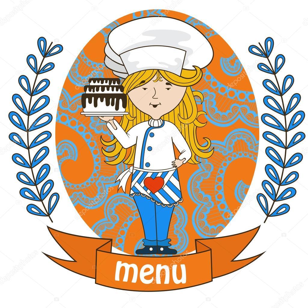 Susses Madchen Chefkoch Mit Leckeren Kuchen Auf Einem Tablett Menu