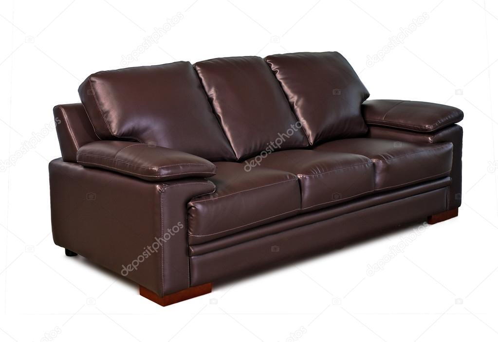 sofá de cuero marrón sobre fondo blanco — Foto de stock © praethip ...