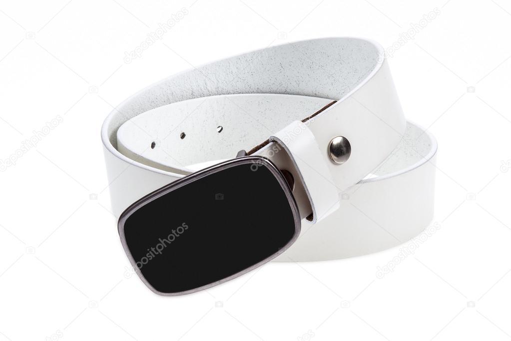 9fa1ca5d0bc Kožené bílý pásek s černou sponou — Stock Fotografie © praethip ...