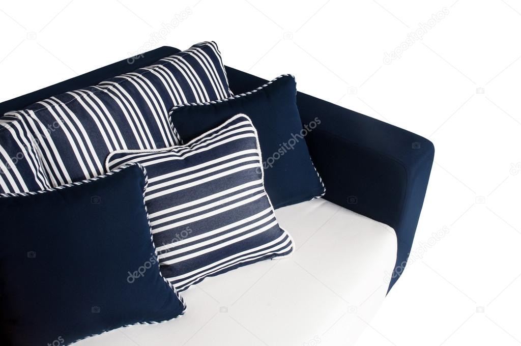 Outdoor sofa with cushions and pillows on white background