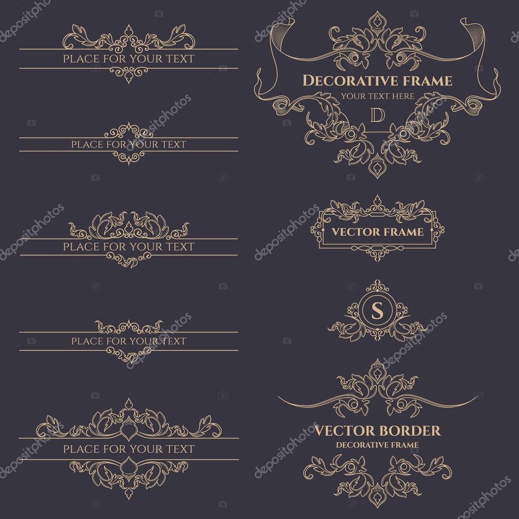 Marcos, bordes y clásicos monogramas — Archivo Imágenes Vectoriales ...