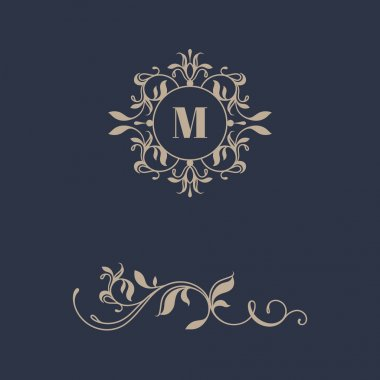 Floral monogram and border for cards, invitations, menus, labels. Graphic design pages.