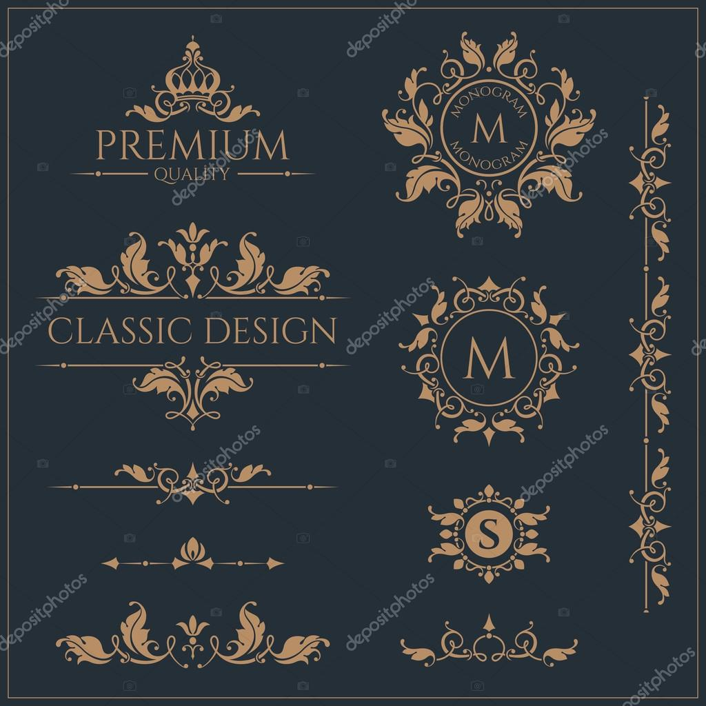 Set of monograms and borders. Graphic design pages.