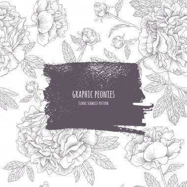 Graphic peonies. Seamless pattern with dark frame.