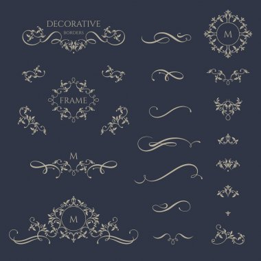 Decorative vector monograms and borders.